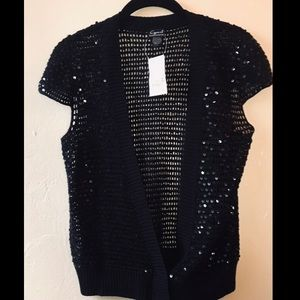 Cejon Sequin Short Sleeve Black Crochet Cardigan L
